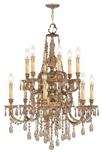 Crystorama 2812-OB-GT-MWP Ornate Cast Brass Chandelier chandeliers