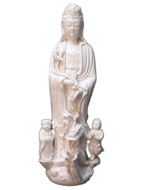 Golden Lotus - Chinese White Porcelain Kwan Yin Goddess of Mercy Statue - There is internal water circulation inside the statue .
