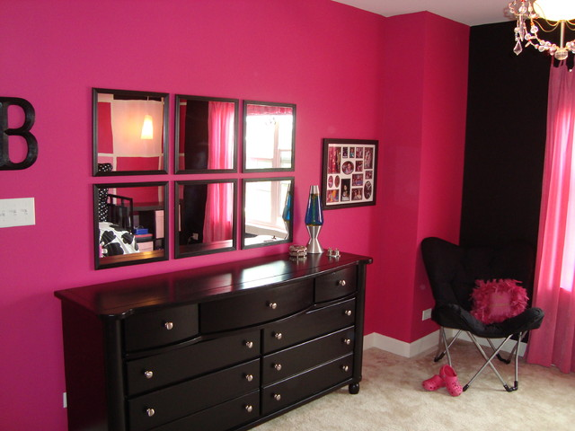 Pink and black tween bedroom contemporary chicago by bree hite design - Hot pink room ideas ...