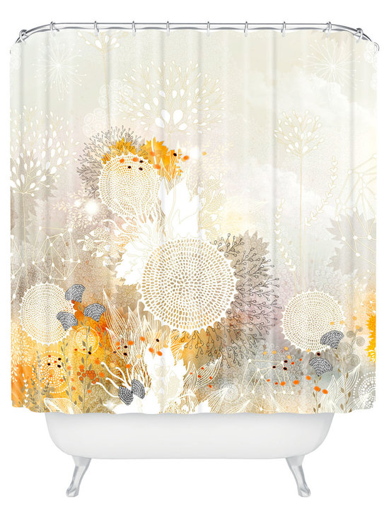DENY Designs - Iveta Abolina White Velvet Shower Curtain - Who says bathrooms can't be fun? To get the most bang for your buck, start with an artistic, inventive shower curtain. We've got endless options that will really make your bathroom pop. Heck, your guests may start spending a little extra time in there because of it!