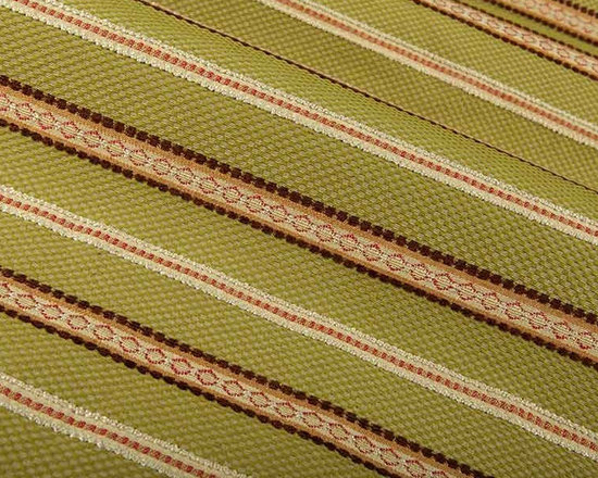 Duchess Upholstery Fabric in Spring Green - Duchess Detailed Stripe Upholstery Fabric in Spring Green is an intricately woven upholstery. The stripes alternate between a green and taupe check pattern and detailed rust, brown, and tan stripes. This classic fabric is ideal for any upholstery project like sofas, couches, benches, ottomans, or even pillows. This high quality upholstery is available at an unbelievably low price in FabricSeen's online fabric store. Made from a blend of 35% rayon, 35% cotton, and 30% polyester, this durable upholstery fabric passes 15,000+ double rubs on the Wyzenbeek Abrasion Test. Cleaning Code: S; UFAC: Class I; passes CA117 Test. Width 54″; repeat 3 1/4″ V.