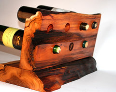 Counter top wine rack Yew Wood eclectic wine racks