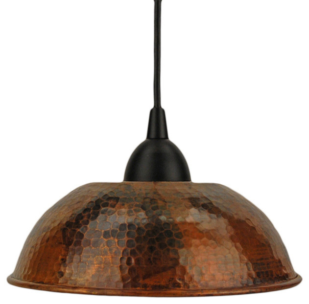 -Hammered Copper Dome Pendant Light - Traditional - Pendant Lighting ...