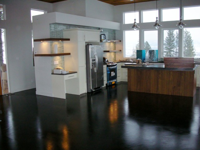 Modern Black Stain Concrete Floor Overlay and Concrete Countertops modern