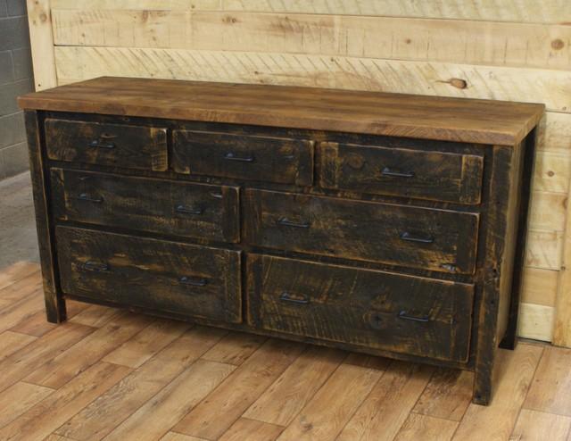 Reclaimed 7 Drawer Dresser Black Distressed Base