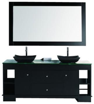 "Design Element DEC105-72 Oasis 72"" Double Sink Vanity Set with Decorative Drawer modern-bathroom-vanities-and-sink-consoles"