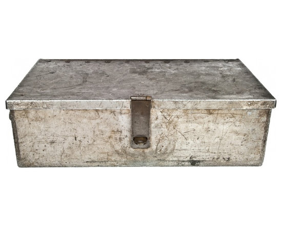 Aluminum Tool Box - Beautiful vintage handmade rustic metal tool box in distressed rustic finish.