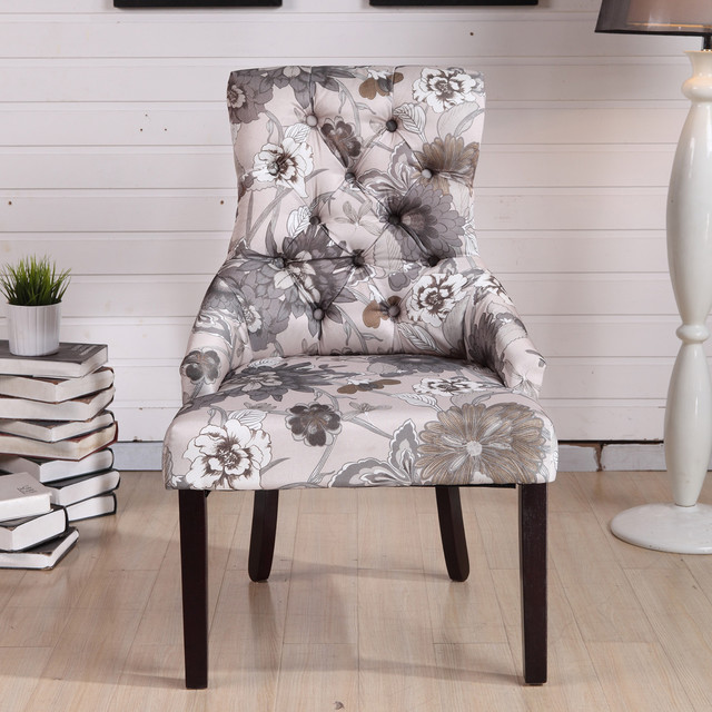 Black White Floral Dining Side Chair Set: Kantoi Luxury White Grey Floral Dining Chair (Set Of 2
