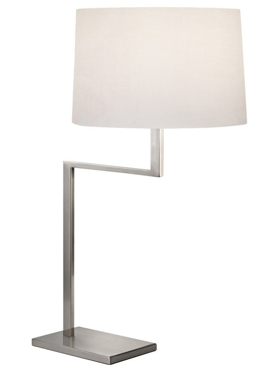 "Sonneman - Sonneman Thick Thin Satin Nickel Table Lamp - The Thick Thin collection of Sonneman lighting boasts handsome angular designs with very subtle style details that go a long way. This contemporary table lamp comes in a satin nickel finish with thick base and neck columns softened by a thin arm. A rounded white cotton shade completes the look for superb balance. Sonneman table lamp. Satin nickel finish. White cotton shade. Takes one 150 watt bulb (not included). On/off turn switch. 29"" high. 19"" wide. Shade is 14"" wide 9"" high. Base is 9 1/2"" wide 6"" deep.  Sonneman table lamp.  Satin nickel finish.  White cotton shade.  Takes one 150 watt bulb (not included).  On/off turn switch.  29"" high.  19"" wide.  Shade is 14"" wide 9"" high.  Base is 9 1/2"" wide 6"" deep."