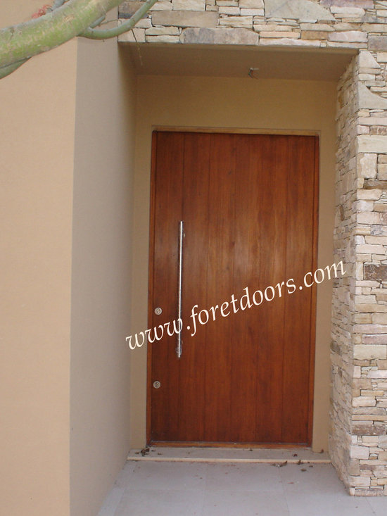 Modern front entry doors / contemporary front entry doors - Solid wood contemporary entry door with vertical grain and stainless steel pull