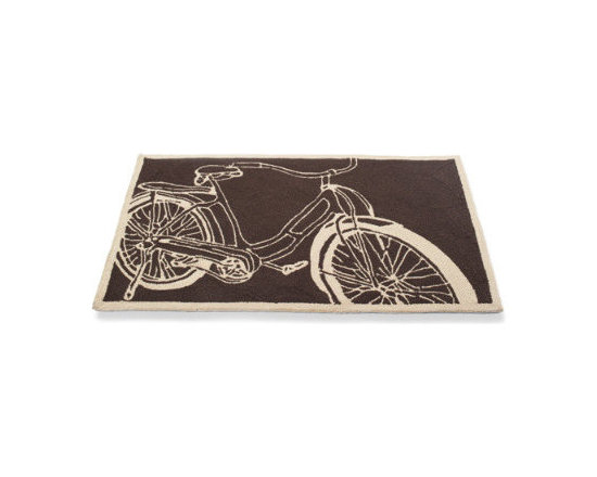 Grandin Road - Bicycle Mat - Hand-hooked construction. 100% polypropylene. This boldly printed mat comes in two sizes. Hoses clean and dries in the sun. Mad about bikes? Our retro Bicycle Mat may be the perfect touch for your entryway. Plus you'll keep your interiors fresh by keeping dirt at bay. This retro motif will last for seasons to come.. . . . Imported.