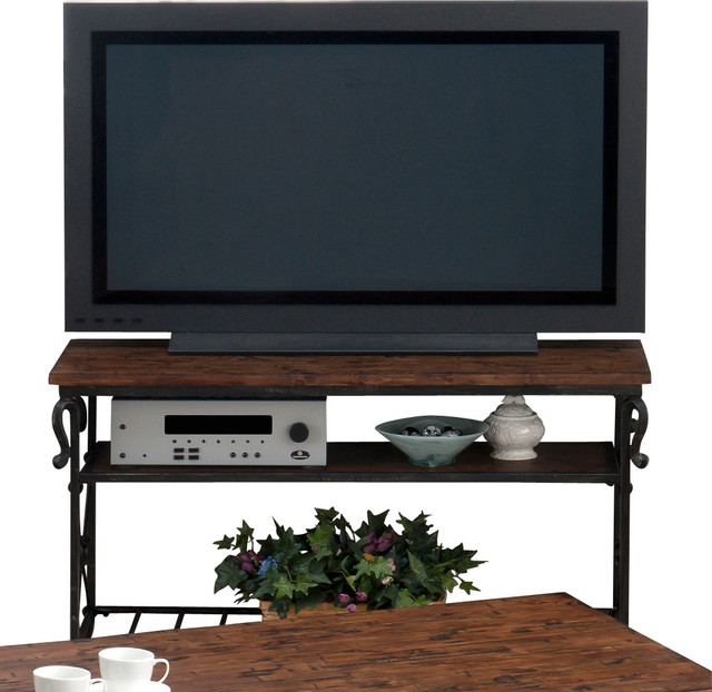 Jofran 772-4 Rutledge Sofa/Media Table with Wooden and Metal Slat Shelves traditional-media-storage
