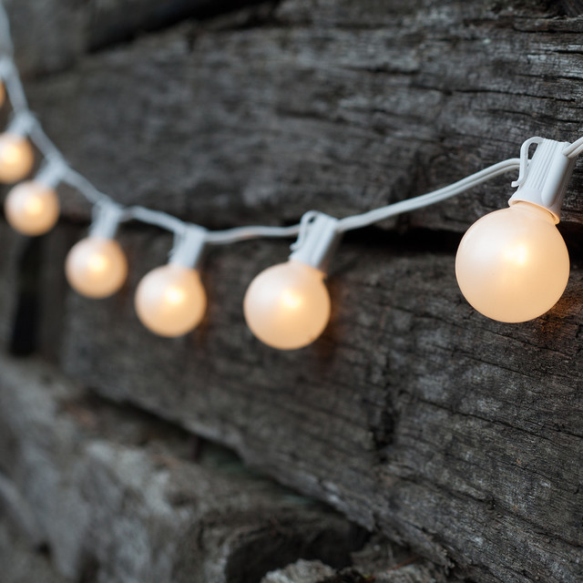 White String Garden Lights : Outdoor Patio String with G50 White Lights - Rustic - Outdoor Rope And String Lights - atlanta ...