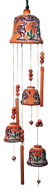 30 inch twin kokopelli themed terra cotta bell wind chime for Terracotta wind chimes