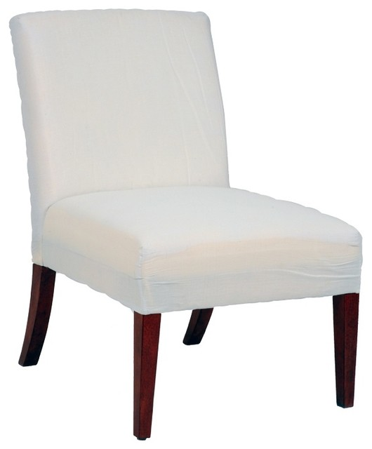 Traditional Muslin Covered Cherry Leg Armless Slipper Chair traditional-chairs