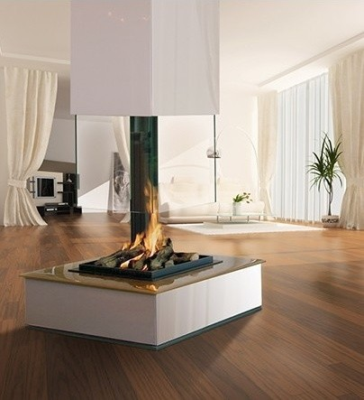 Bespoke central glass fireplace contemporary for Central fireplace