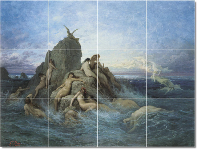 Les Oceanides Tile Mural By Gustave Dore traditional-tile