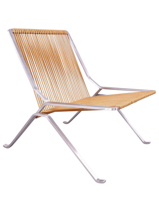 Control Brand - Alba Mid Century Outdoor Lounge Chair - Seating portion made using brown rope halyards. Made from stainless steel and flag halyard. No assembly required. 28.75 in. W x 28.75 in. D x 27.13 in. H (55 lbs.)