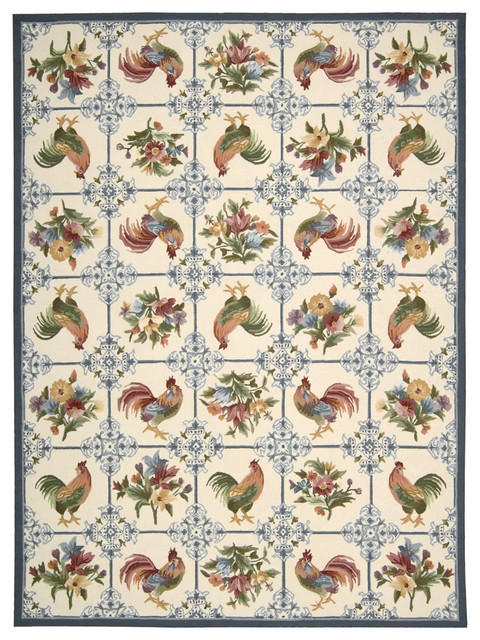 """Country Heritage H319 1'9"""" x 2'9"""" Ivory, Blue Rug traditional-rugs"""