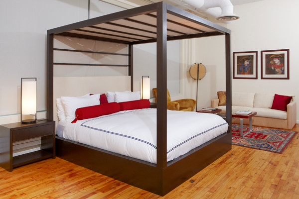 Four Post Canopy Bed With Upholstered Headboard Modern
