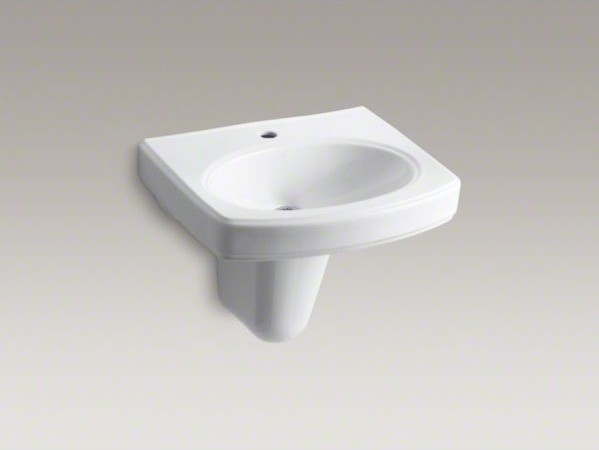 Kohler Wall Mount Sink : KOHLER Pinoir(R) wall-mount bathroom sink with single faucet hole ...