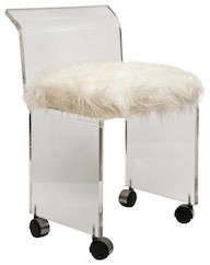 Lucite Chair In Faux-Mongolian Lamb's Wool midcentury-living-room-chairs