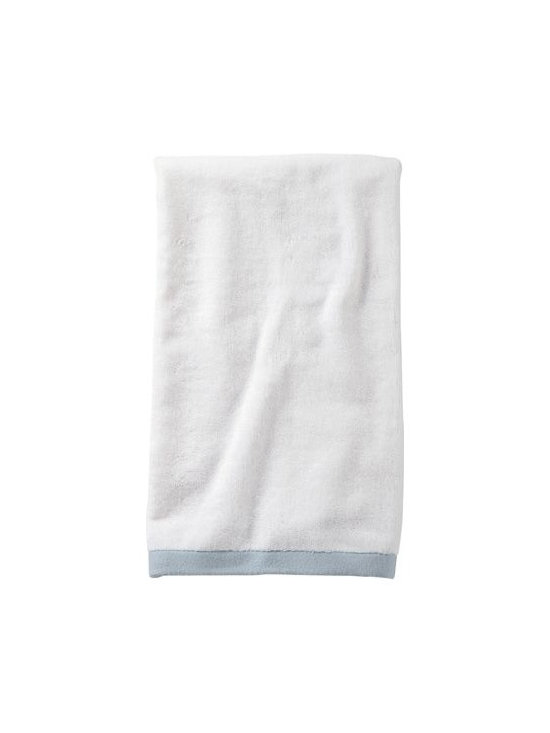 Serena & Lily - Aqua Border Frame Hand Towel - Woven in Portugal from supremely soft cotton, these towels are lofty, absorbent, quick to dry, and won &apos t fade, fray or wear out. We love how the substantial stripe pops against the pure white cotton terry. (The washcloth was kept simple&#151a perfect square of all white.)