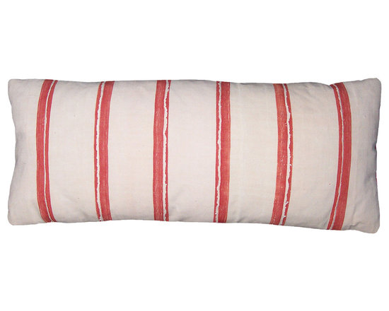 Narrow Strip Weave Lumbar Pillow - High-end Custom and Ready made pillows available on-line. This Collectible African Textile Lumbar Pillow Features Hand Woven Narrow Strip Weave Cloth in Watermelon Red and Blush, Off White.  Back is a Vintage Cotton Stripe Fabric.  Feather Down Insert. One-of-a-Kind Pillow.   Couture Custom Workroom Services Available. Artisanaworks
