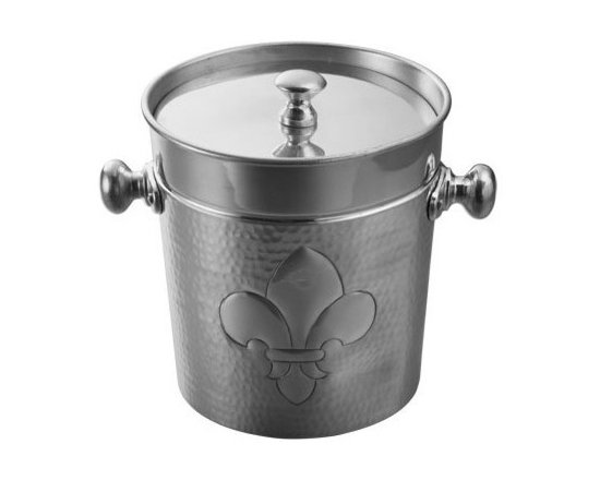 """Fleur de Lis Hammered Ice Bucket w/ Lid (8"""" height) - Polished aluminum ice bucket with a hammered outer finish will looks great into any home. Ornamental design adds a nice touch of charm to your bar decor."""