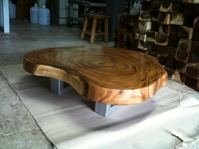 Reclaimed Acacia Wood Round Solid Slab Coffee Table By
