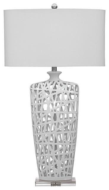 Coastal Erowin Gloss White Ceramic Table Lamp beach-style-table-lamps