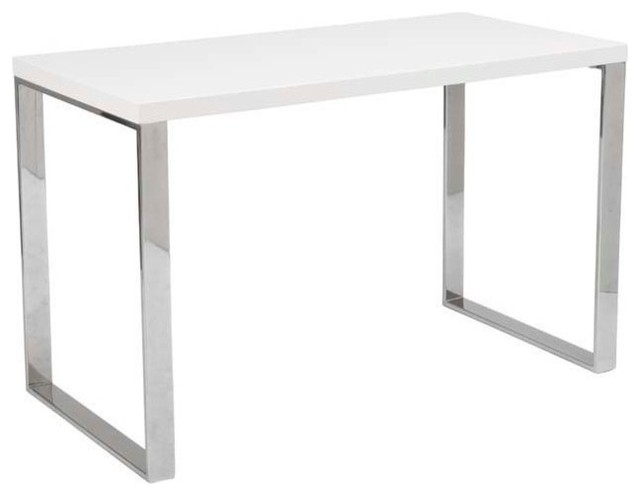 Eurostyle Dillon Office Desk w/ Chromed Steel Legs in White Lacquer - Contemporary - Desks And ...
