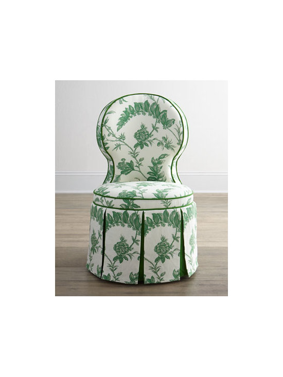 """Haute House - Haute House """"Garden"""" Dining Chair - Exclusively ours. This charming dining chair with box-pleated skirt is equally at home in the bedroom or in front of a vanity. Alder wood frame. Linen and cotton upholstery. 21""""W x 22.5""""D x 37""""T; seat, 18""""T. Handcrafted in the USA. Boxed weight,...."""