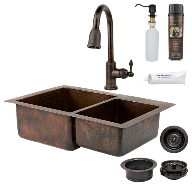 "33"" Copper Kitchen 60 40 Sink w ORB Faucet Rustic"
