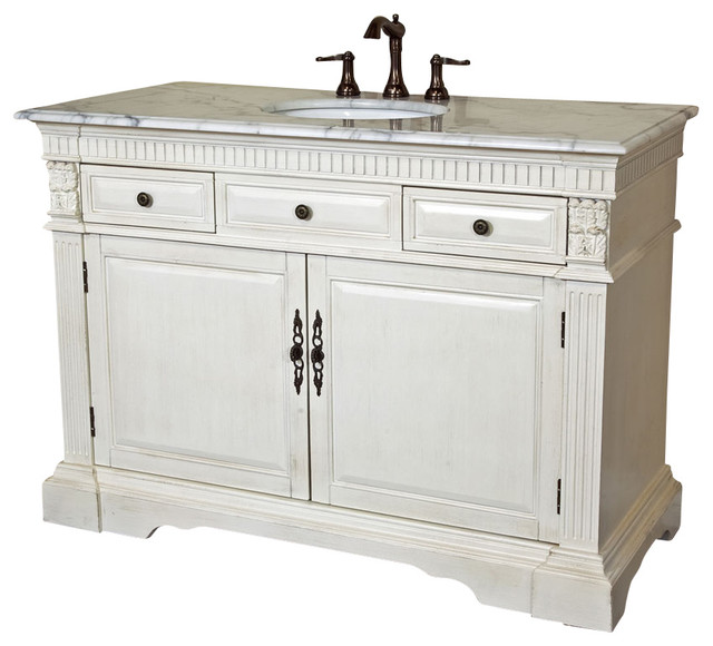 50 in Single sink vanity-wood-antique white - modern - bathroom ...