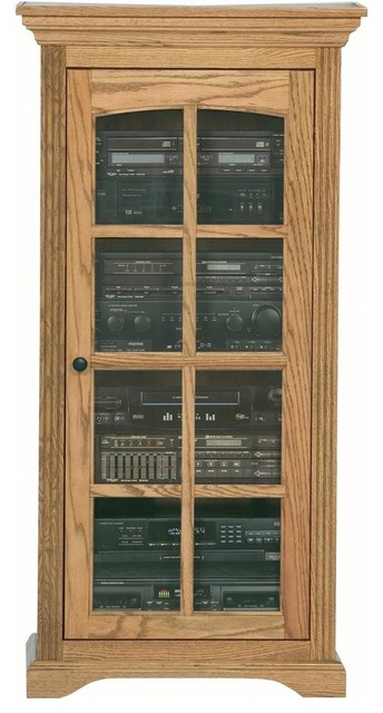 ... Audio Tower w Glass Panel Door (Unfinished) traditional-media-cabinets