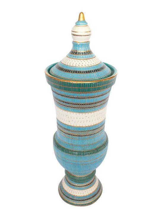 Vintage Italian Urn in Turquoise and Gold - Dimensions 5.25ʺW × 9.0ʺD × 16.0ʺH