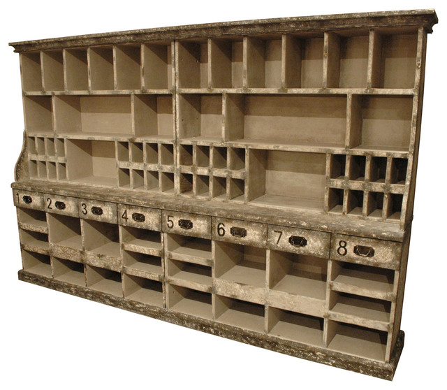 ... Reclaimed Wood Carved Niche Hutch Server transitional-storage-cabinets