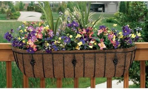 Black Rectangle Coco Liner/Mild Steel Antoinette Horse Trough Planter contemporary-outdoor-planters