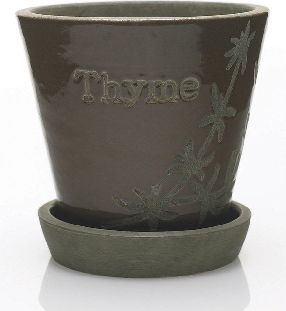 Brown herb pot saucer contemporary indoor pots and planters - Indoor plant pots with saucers ...