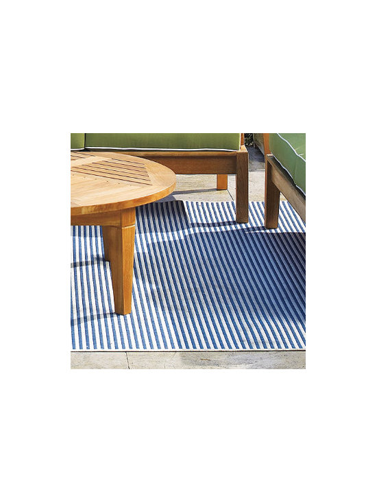All-Weather Blue Stripes Outdoor Area Rug -