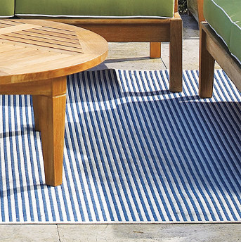 All-Weather Blue Stripes Outdoor Area Rug traditional-outdoor-rugs