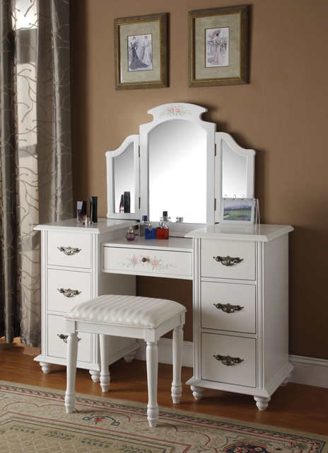 torian white vanity set with tri fold mirror traditional bedroom makeup vanities new. Black Bedroom Furniture Sets. Home Design Ideas