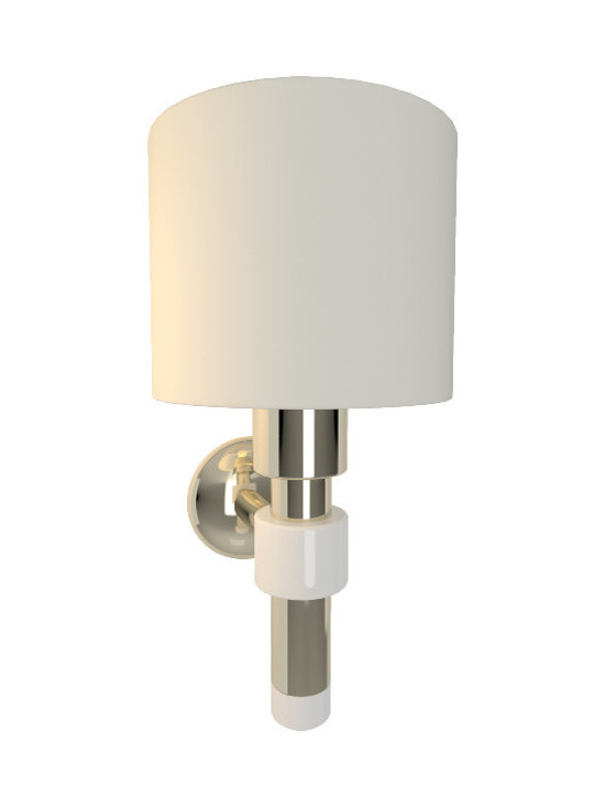 CreativeMary - Salamanca Wall Sconce - Salamanca Wall Sconce features a White fabric shade with a Brass finish. One 40 watt, 120 volt A19 type Medium base incandescent bulb is required, but not included. 6.6 inch width x 12.5 inch height x 7.5 inch depth.
