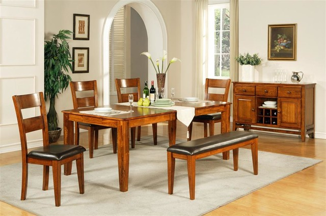 Mango Solid Wood Dining Set W Server In Light Contemporary Dining Sets By Shopladder