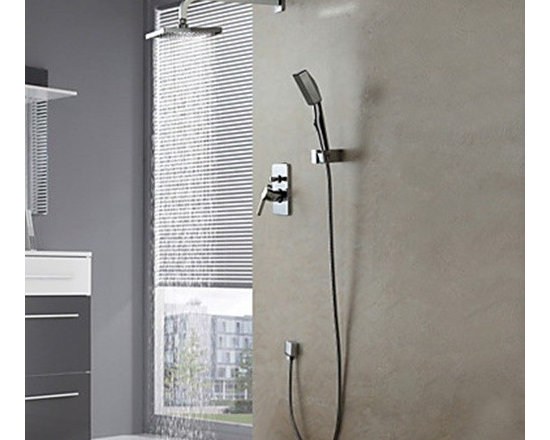 Shower Faucets - Wall Mount Contemporary Chrome Shower Faucet Set--FaucetSuperDeal.com