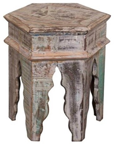 Tannez Marrakesh Rustic Wood Table - Mediterranean - Side Tables And ...
