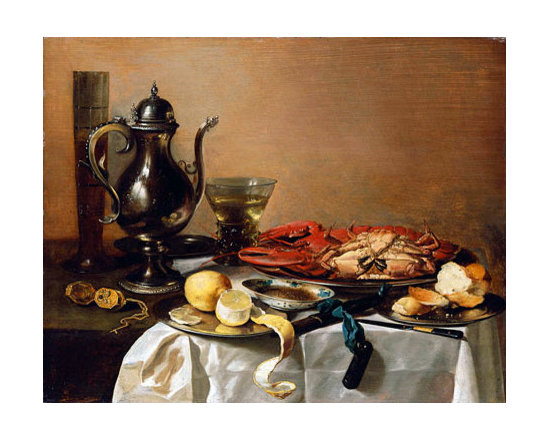 Still Life with Lobster | Pieter Claesz | Painting Reproduction - Pieter Claesz - Still Life with Lobster, 1643 - Hand-Painted Oil Painting Reproduction.