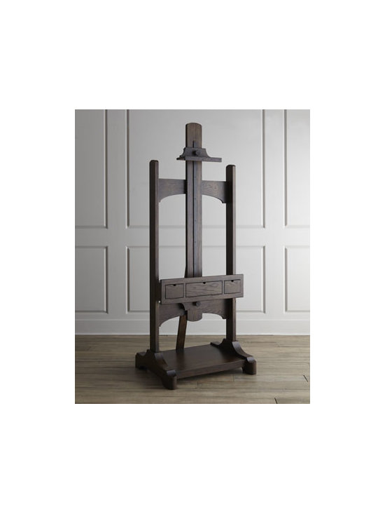 """Horchow - Jaxson Media Easel - Adjustable TV easel is perfect for movie nights with family and friends. Made of select hardwoods and oak veneers. Whiskey-barrel finish. Three storage drawers. Wood-on-wood glides. Height adjusts to accommodate most TV sizes up to a maximum of 50"""". 37.25""""W x 33""""D x 88""""T, fully extended. Impo"""