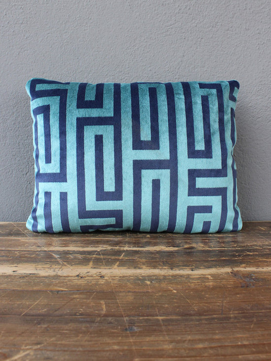 velvet aqua maze lumbar pillow - view this item on our website for more information + purchasing availability: http://redinfred.com/shop/category/furnish/red-exclusives/velvet-aqua-maze-lumbar-pillow/
